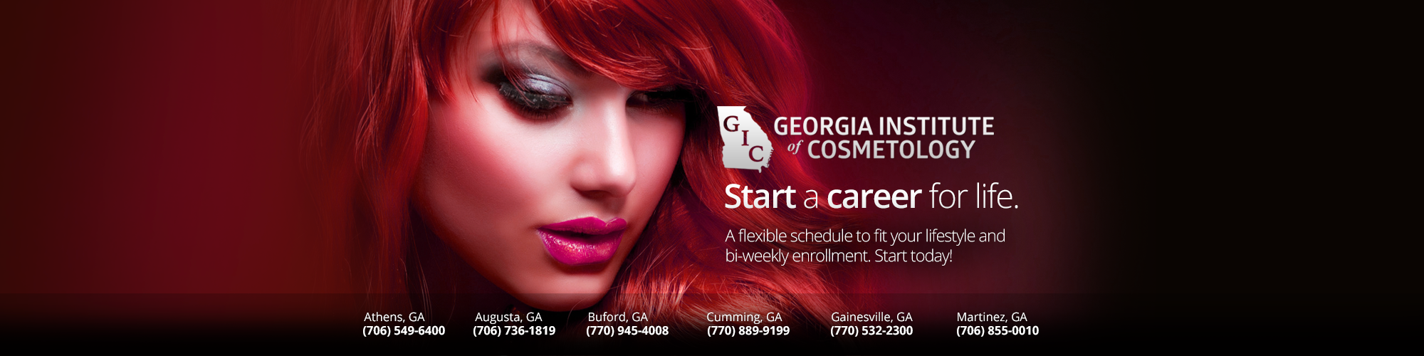 Beauty School Cumming Georgia - The mission of the Georgia Institute of Cosmetology is to provide exceptional, state-of-the-art cosmetology training for serious students who wish to pursue personal career goals in cosmetology and related fields. The school seeks to prepare students for the real-world work environment and employer demands via the latest self-paced structural programs which use both individual and group instruction, cater to the needs of the individual, enforce discipline and moral values, and impart the joys of achievement and quality performance. Located in Athens Georgia, Augusta Georgia, Cumming Georgia, Gainesville Georgia, Martinez Georgia, Sugar Hill Georgia, Forsyth Georgia, Buford Georgia